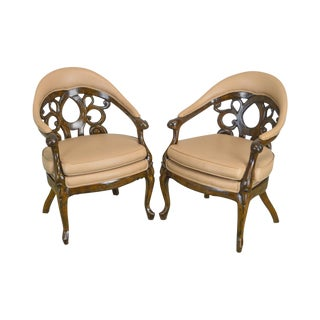 Rococo Revival Belter Style Vintage Carved Arm Chairs For Sale