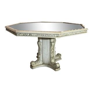 Hollywood Regency Octagonal Carved Wood Glass Top Pedestal Dining Table For Sale