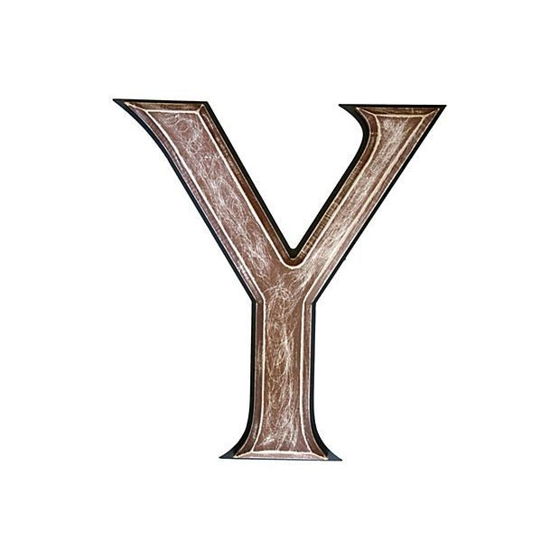 """Large 18"""" Vintage Wooden Marquee Letter Y For Sale"""
