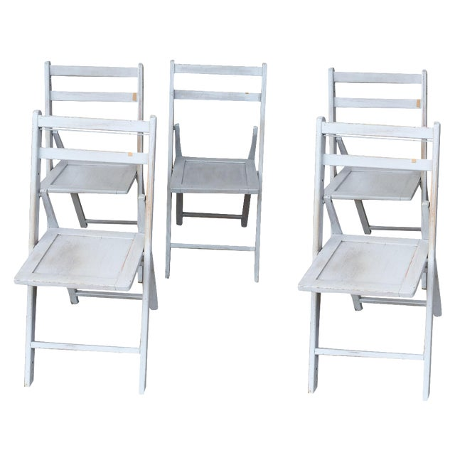 French Grey Folding Chairs - Set of 5 - Image 1 of 5