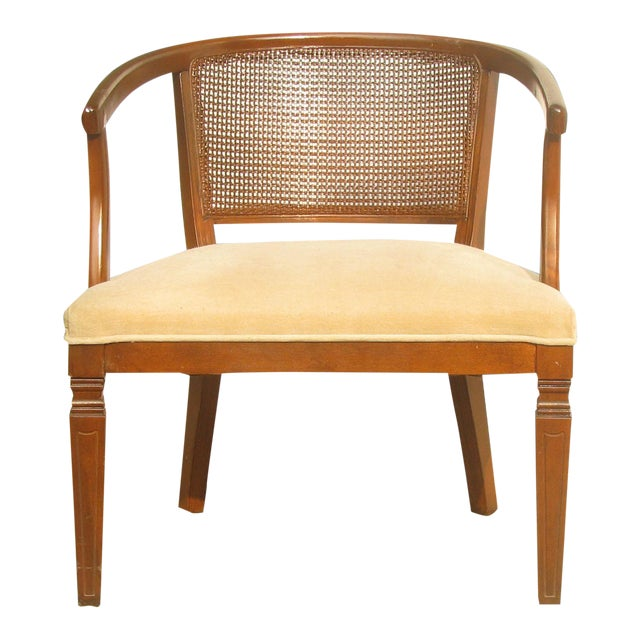 Mid-Century Caned Barrel Chair For Sale