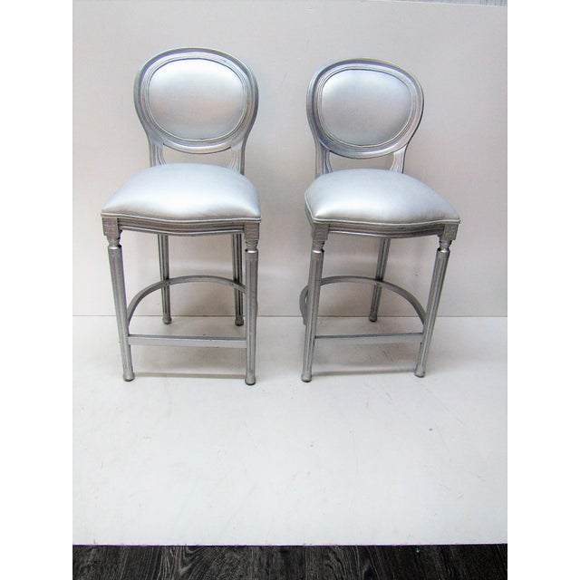 1980s Vintage Silver Beechwood Barstools With Metallic Faux Leather Seats- A Pair For Sale - Image 4 of 6