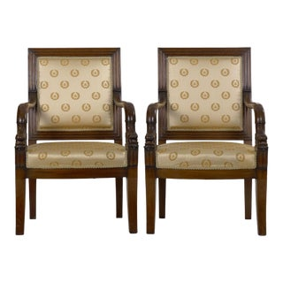 19th Century Pair of French Louis Phillipe Napoleonic Carved Mahogany Arm Chairs For Sale