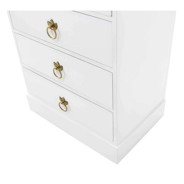 Brass Tall Seven Drawer Lingerie Chest by Grosfeld House For Sale - Image 7 of 8