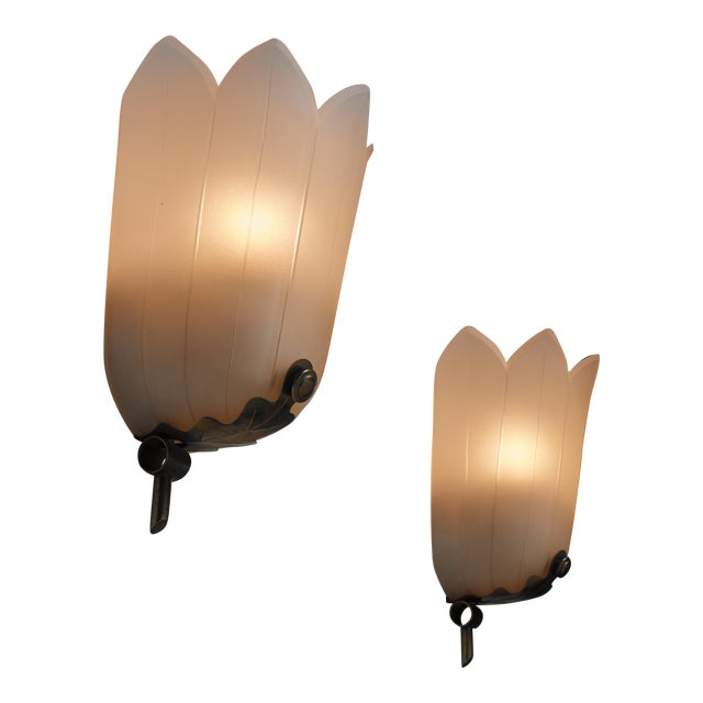 Pair of Art Deco glass wall lamps, Sweden, 1930s For Sale
