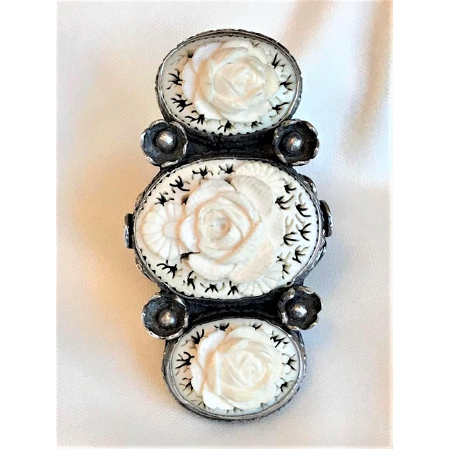 White Sterling and Carved Bone Floral Motif Oversized Ring For Sale - Image 8 of 8