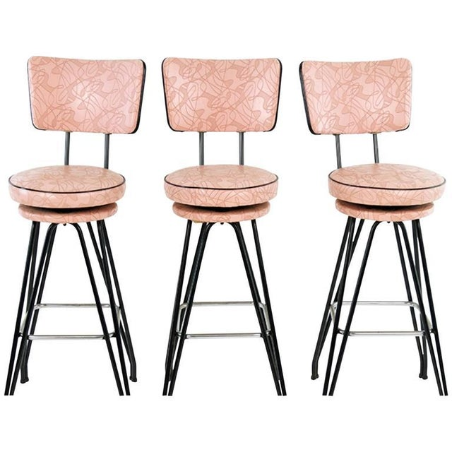 Metal Set of Three Kitch Mid-century Bar Stools With Pink Upholstery, Black Piping For Sale - Image 7 of 7