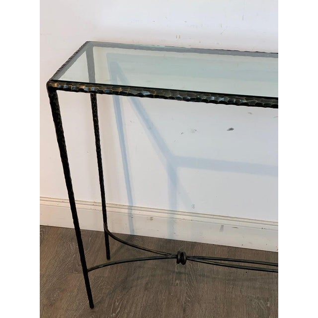 French Modern Cast Bronze and Glass Console Table For Sale - Image 4 of 10