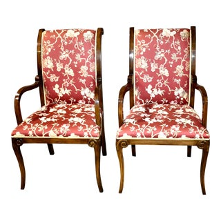 Vintage Directoire Style Arm Chairs - A Pair For Sale