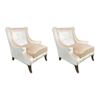 Pair of Velvet Lounge Chairs For Sale