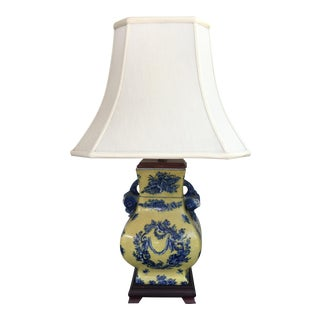 Vintage Yellow and Blue Chinoiserie Porcelain Lamp For Sale