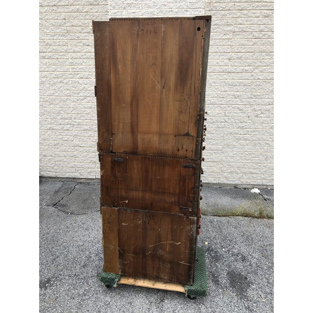 Brass Large Vintage Industrial Wood Hardware Cabinet For Sale - Image 7 of 13