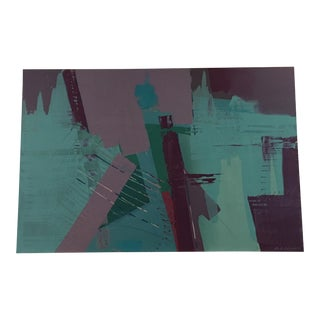 Original Bob Rankin Large Abstract Teal and Violet Painting