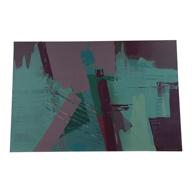 Original Bob Rankin Large Abstract Teal and Violet Painting For Sale