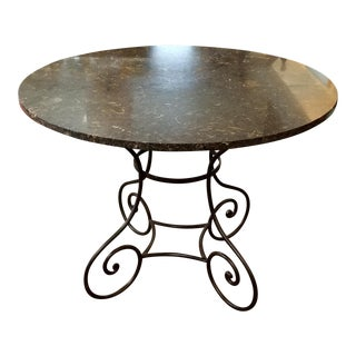 Black Marble Bistro Table With Oyster Fossils