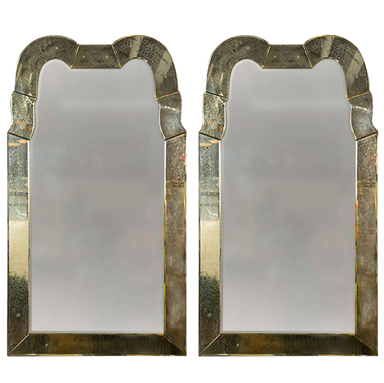 queen anne mirror vanity pair of fine