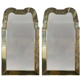 "Pair of Fine ""Queen Anne"" Style Antiqued Venetian Distressed Glass Mirrors"