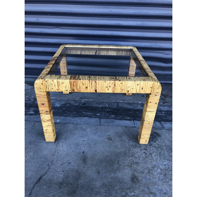 Boho Chic Vintage Wrapped Rattan Square Side Table For Sale - Image 3 of 11