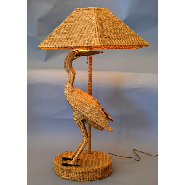 Vintage Mario Lopez Torres Egret Wicker Rattan Table Lamp, 1974 For Sale - Image 12 of 13