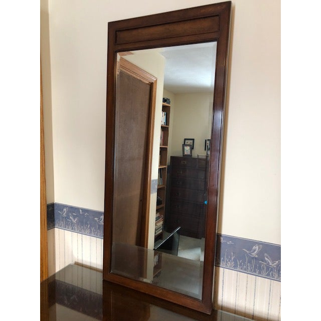Wood Vintage Ethan Allen Canova Cherry Campaign Style Dresser With Mirrors For Sale - Image 7 of 8