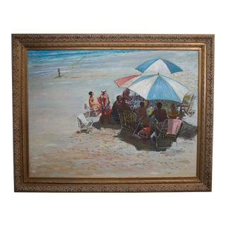 20th Century Oil on Canvas of Beach Scene For Sale