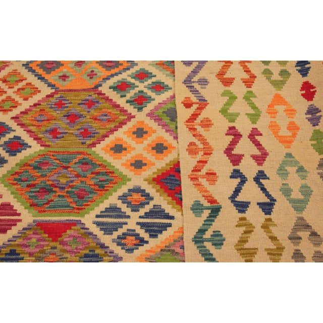 Eulah Ivory/Blue Hand-Woven Kilim Wool Rug -8'6 X 11'5 For Sale In New York - Image 6 of 8