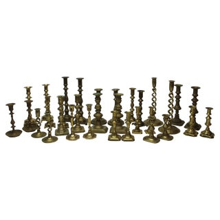 Collection of 32 Vintage and Antique Brass Candlesticks For Sale