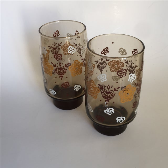 Mid-century Smoky Butterfly Glasses - Set of 8 - Image 8 of 9