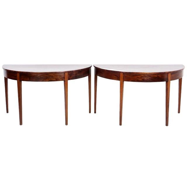 Antique English Mahogany Demilune Half Round Tables - a Pair