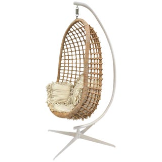 1960s Rattan Swing Chair For Sale