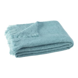 Sea Spray Brushed Mohair Throw For Sale