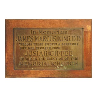 Early 20th Century Bronze and Wood Memorial Building Plaque For Sale