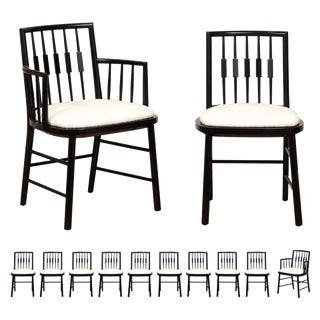 Stellar Set of 12 Modern Windsor Chairs by Michael Taylor, Circa 1960 For Sale