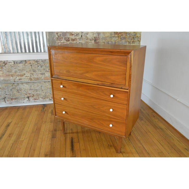 Drexel Drexel Declaration Walnut Mid Century Modern Gentleman's Chest For Sale - Image 4 of 9