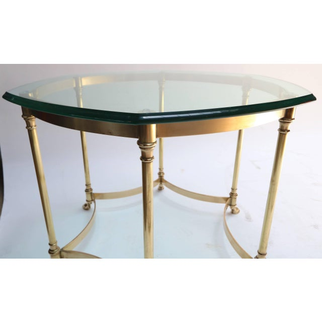 1960s Hexagonal Brass Side Table With Glass Top and Goat Feet For Sale - Image 5 of 10