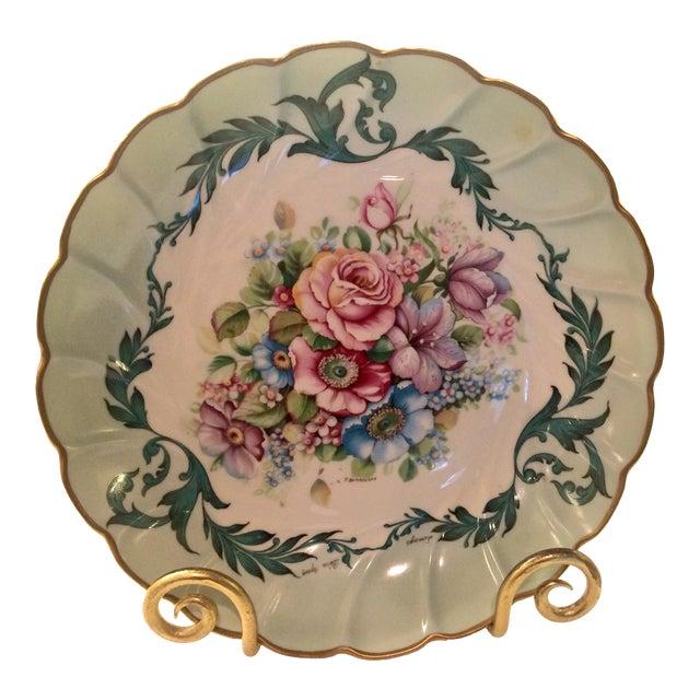 Scalloped Bowl, Vintage Limoges, France Artist Signed, T. Burroughs For Sale