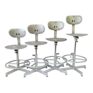 Four Multi Adjustable Industrial Operators Swivel Bar or Counter Stools For Sale