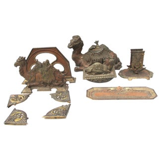 Desk Set of Camel and Egyptian Motif - Group of 9 For Sale