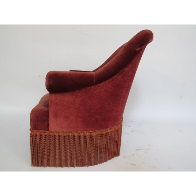 Vintage 1940s Crimson Red Slipper Chair - Image 5 of 5