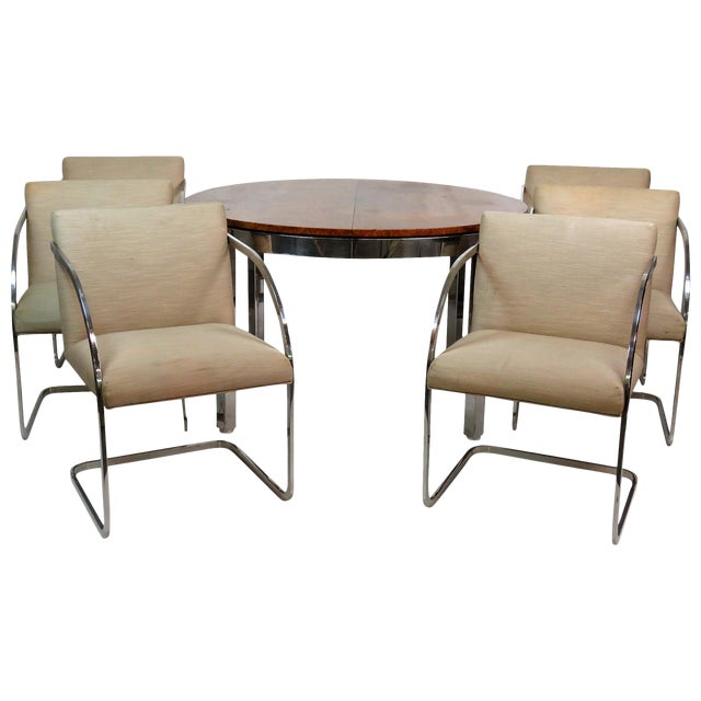 Milo Baughman Burl Walnut & Chrome Dining Set- 7 Pieces - Image 1 of 10