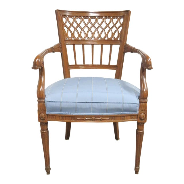 Italian Style Carved Fruitwood Arm Chair For Sale