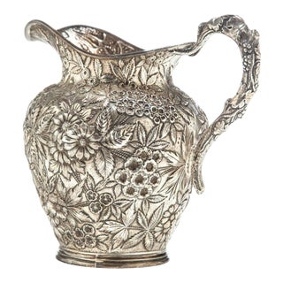 Sterling Repousse Pitcher by Justis & Armiger For Sale