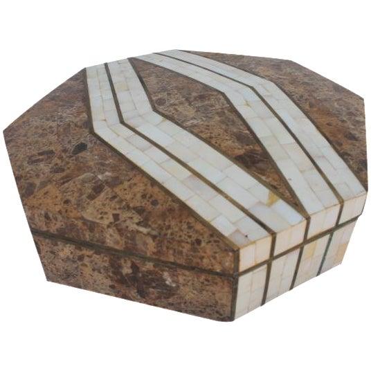Maitland-Smith Octagonal Stone & Bone Box - Image 1 of 8