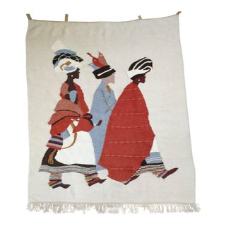 African 3 Xhosa Women Handwoven Mohair Tapestry For Sale
