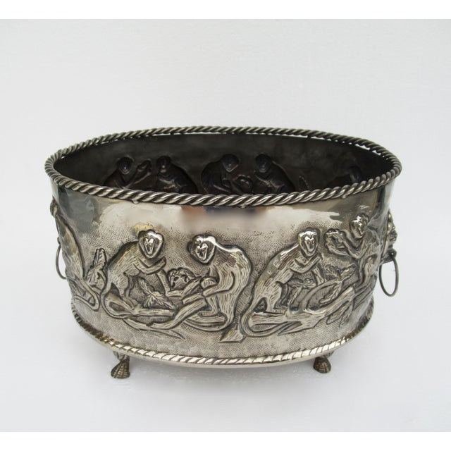 Art Deco Castilian Hammered Silver Monkey Embossed Centerpiece Jardiniere, Planter For Sale - Image 3 of 13