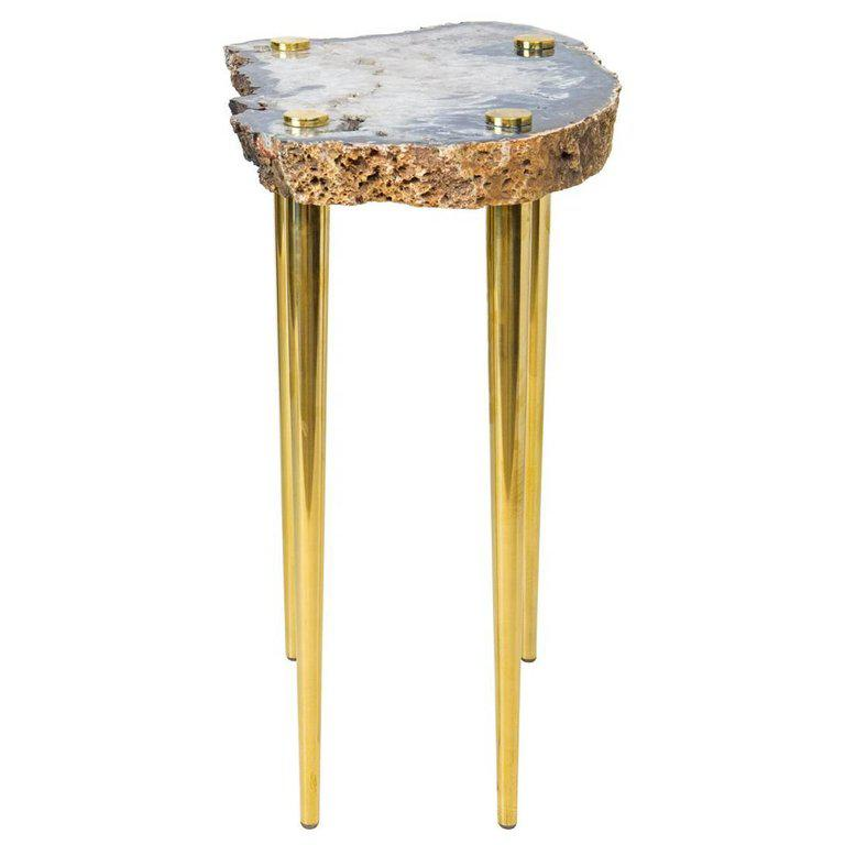 Power Of 10u0027 Side Table In Quartz And Solid Brass By Christopher Kreiling    Image