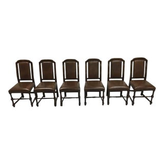 Set of 6 1980s Vintage Jacobean Spanish Style Brown Faux Leather Dining Chairs For Sale