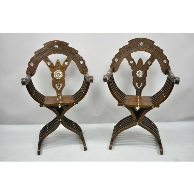 19th Century Mother of Pearl Inlay Syrian Savonarola Curule Throne Arm Chairs- A Pair For Sale - Image 12 of 12