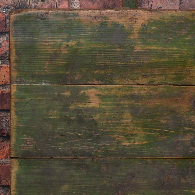 Green 19th Century Rustic Green Painted Harvest/Farm Trestle Table For Sale - Image 8 of 9