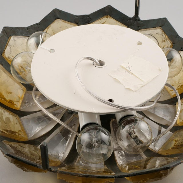 Bronze Italian Mottled Glass and Bronze Round Flush Mount For Sale - Image 7 of 7